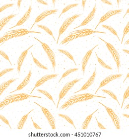 Vector seamless pattern illustration ears of wheat. Malt beer background. Autumn harvest.