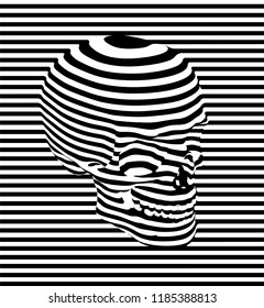 Vector seamless pattern illustration of human skull in black and white horizontal stripes on black and white striped background.