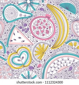 Vector seamless pattern illustration of nutrient-rich fruits in tribal, zen doodle boho style. Can be printed and used as raw, vegan and design element, wrapping paper, wallpaper, textile, fabric, etc