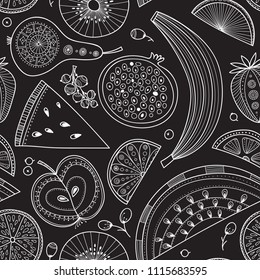 Vector seamless pattern illustration of nutrient-rich fruits in tribal, zen doodle boho style. Can be printed  as raw, vegan and vegetarian design element, wrapping paper, wallpaper, textile, fabric,