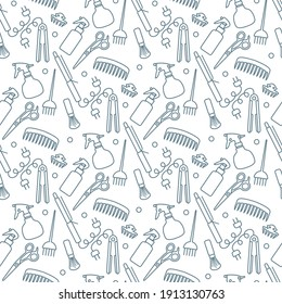 Vector Seamless pattern Illustration Professional hairdresser tools Barbershop Beauty Hairdressing salon Glamour fashion vogue style Comb, hair straighteners, curling tongs, scissors Design for print