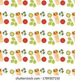 Vector seamless pattern Illustration Tortilla wraps with grilled chicken fillet and fresh vegetables. Street lunch. Takeaway food. Kebab. Concept for cafe, bistro menu card. Design for wrapping, print