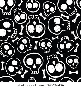 Vector seamless pattern of illustration white skills in ink on black background