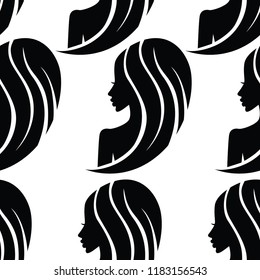 Vector seamless pattern from illustration of woman with beautiful hair