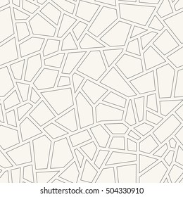 Vector seamless pattern with imitation on broken tiles. Monochrome abstract background. Stylish print with irregular texture. Catalan modernism.