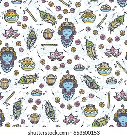 Vector Seamless pattern for Indian fest Shri Krishna Janmashthami. Background with Indian Holiday Symbols: Pots of Yoghurt, Baby Krishna portrait, Peacock Feathers, Flute, Flowers