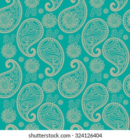 Vector seamless pattern with Indian ornament. Turkish cucumber.