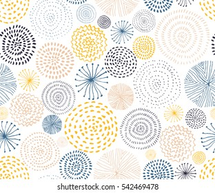 Vector seamless pattern with ink circle textures. Abstract seamless background with colorful fireworks.