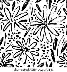 Vector seamless pattern of ink drawing wild plants, herbs and flowers, monochrome botanical illustration, floral elements, hand drawn repeatable background. Artistic backdrop.