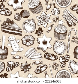 Vector seamless pattern with ink hand drawn Christmas sweets and pastries illustration. Vintage bakery background.
