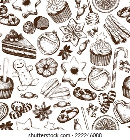Vector seamless pattern with ink hand drawn Christmas sweets and pastries illustration isolated on white. Vintage bakery background.
