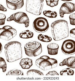 Vector  seamless pattern with ink hand drawn breads and pastries illustration isolated on white background for restaurant or bakery menu.