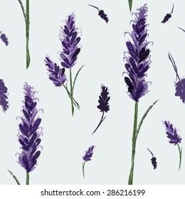 Vector seamless pattern with ink hand drawn lavender illustration. Vintage vector background Watercolor vector pattern with Lavender. Floral pattern