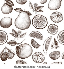 Vector seamless pattern with ink hand drawn citrus fruit, flowers, slice and leaves sketch. Vintage exotic plants background isolated on white