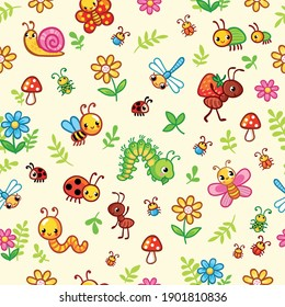 Vector seamless pattern with insects and plants in cartoon style. Childish illustration on a wild background.