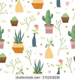 vector seamless pattern interior. home flowers. indoor plants, potted plants. cute cartoon style