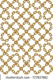 Vector seamless pattern of intertwined golden chains. Realistic illustration isolated on a white background.