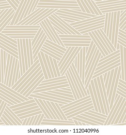 Vector seamless pattern with interweaving of light lines. Traditional hatching of architectural hand drawn graphic. Simple abstract ornamental gray illustration with stylized texture of covering