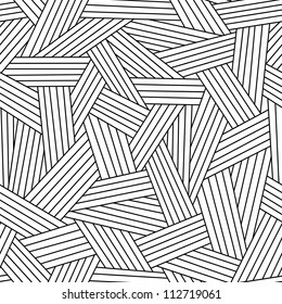 Vector seamless pattern with interweaving of thin lines. Simple abstract ornamental black and white illustration with stylized grass, covering. Traditional hatching architectural hand drawn graphic.