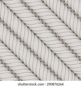 Vector seamless pattern of interwoven ropes, braids, locks