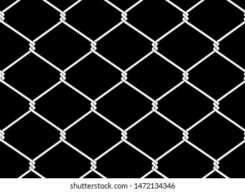 Vector seamless pattern of iron chain link mesh chicken wire fence protection.