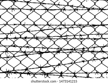 Vector seamless pattern of iron chain link mesh chicken wire fence protection and barbed wire seamless pattern.