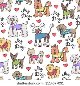 Vector seamless pattern with isolated colored dogs. Pattern on the theme of pets. Background for use in design