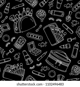 Vector seamless pattern with isolated cosmetics on black color. Pattern on the theme of fashion and beauty. Background for use in design