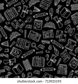 Vector seamless pattern with isolated hand drawn books on black color. Pattern on the theme of education. Background for use in design