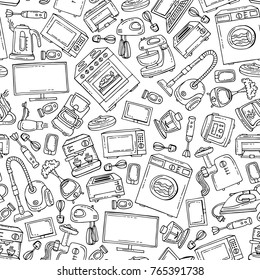 Vector seamless pattern with isolated hand drawn household appliances and electronics on white color. Background for use in design