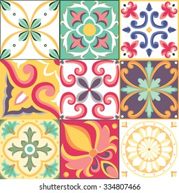 Vector seamless pattern in Italian style. Beautiful colorful background