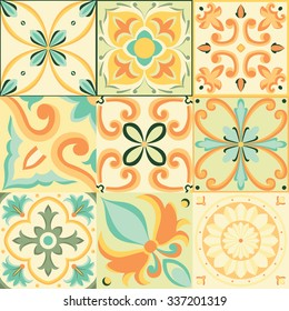 Vector seamless pattern in Italian style. Beautiful orange background