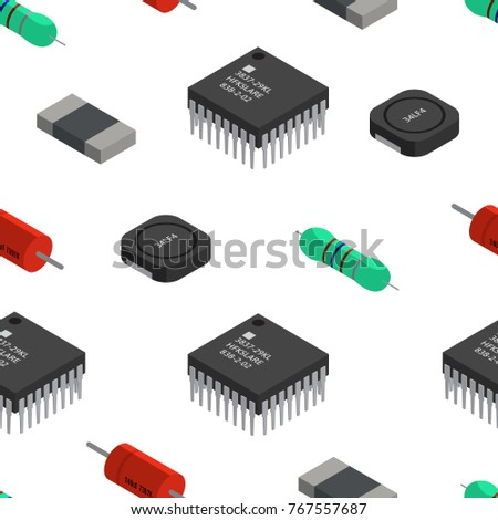 Vector Seamless Pattern Izometric Electronic Components Stock Vector