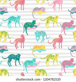 Vector seamless pattern with jaguars. Going, staying, sleeping, jumping. Tropic wild animals and plants in folk naive style. Bright colors