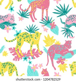 Vector seamless pattern with jaguars and jungle plants, leaves and flowers. Going, staying, sleeping, jumping. Tropic wild animals and plants in folk naive style. Bright colors