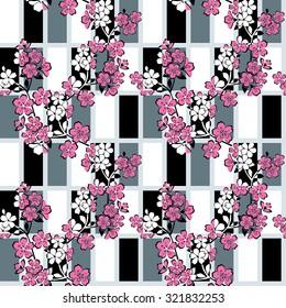 vector seamless pattern with Japanese modern sakura ornament