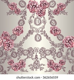 Vector seamless pattern with jewelry and peony flowers in toile de jouy style