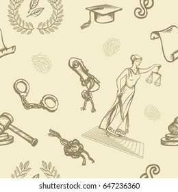 Vector seamless pattern with justice or law symbols on beige background. Sketch. Eps-8.