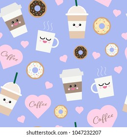 Vector seamless pattern of kawaii coffee cups, donuts and hearts on a pastel purple background.