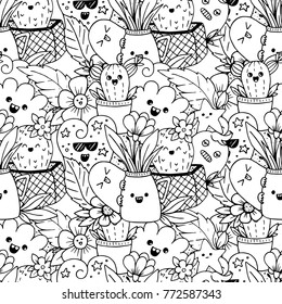 Vector seamless pattern with kawaii doodle characters and flowers isolated on background. Perfect for coloring book.
