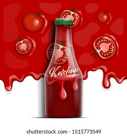 Vector seamless pattern with ketchup and tomatoes. Bottle of ketchup in a realistic style.