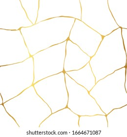Vector seamless pattern of Kintsugi thin lines. Golden crackle on white background.