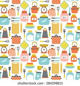 Vector seamless pattern with kitchenware: pans, jars with jam and milk, grater, dishes, cup, teapot, kettle, whisk, rolling pin, spoon, fork, knife, cutting board, spatula. Bright hand drawing texture