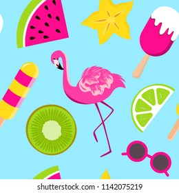 Vector seamless pattern with kiwi, watermelon, lemon slices, ice cream, sun glasses, flamingo, cannon. Tropical background for cafe, restaurant menu cover, design banner, print on clothes, wallpaper.