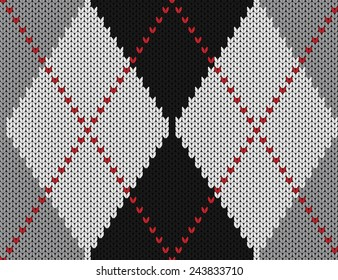 Vector seamless pattern. Knitted background with diamonds.