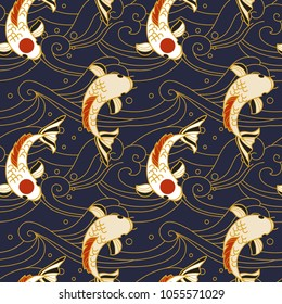 Vector seamless pattern with koi fish and waves in japanese style.