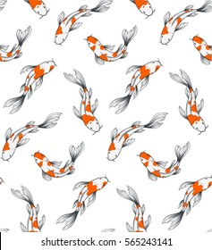 Vector seamless pattern with koi fishes pool top view background. Hand drawn graphic japanese traditional fish pond illustration. Nice wrapping paper or textile repeatable print.