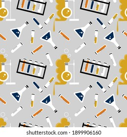 Vector seamless pattern with laboratory equipment. Endless print with flask, test tube, chemical glassware. Illustration of background of science lab items, scientific experiment, laboratory research