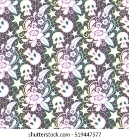 Vector seamless pattern. Lace with a flower ornament, skulls and stars. Retro ornate and pastel goth style. Modern design for textiles and fabrics, wrapping paper and wallpapers of all kinds.