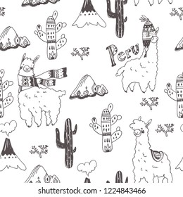 Vector seamless pattern with lamas, mountains and plants isolated on white. Hand drawn texture with cute animal characters. Sketch of South American symbols